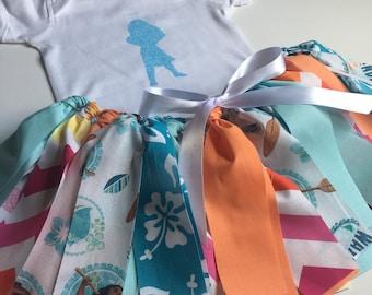 Moana Outfit - Moana costume skirt - Moana Fabric tutu - Disney tutu - Moana Skirt - Disney Moana Outfit - Girl Birthday Outfit- Moana Shirt