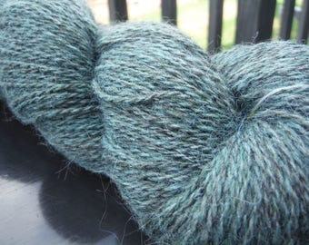 Overdyed Malachite Farm Fresh 70/30 Jacob Wool and Mohair Sport Weight Yarn, approx 4 oz/400 yards