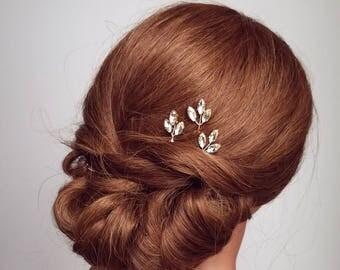 Crystal Hair Comb, Rhinestone Hair Pins, Leaf Hair Pieces, Wedding Hair Accessory, Vine Hair Pieces, Leaf Hairpins, Bridal Hair Vine