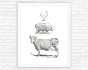 Farm animals print, kitchen decor, cow, pig, chicken animal illustration