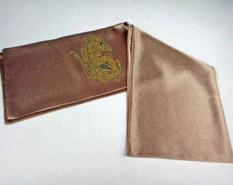 Brown beige Silk Scarf for Men, Handpainted Celtic Dragon, Aviator Scarf, Satin Pilots Scarf double, Double Layer Silk scarf, Hand made