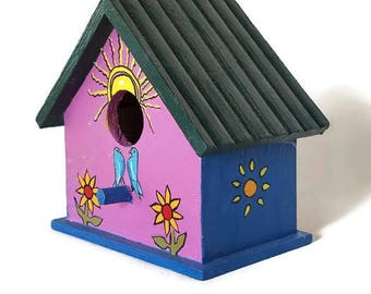 Purple and Blue Colorful Folk Art Birdhouse Decor, Bluebirds, Sunshine, Daisy Flowers, Sunflowers, Green Roof, Country, Cottage, Garden
