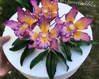 Gumpaste Cymbidium Orchid Cake Decoration