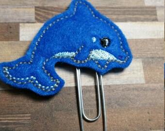 Cute Dolphin Feltie Bookmark / Felt Paper Clip