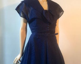 Late 1940s navy blue lace strapless dress with matching bolero
