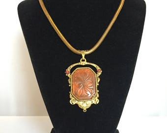 Impressive antique czech style filigree pendant set with pressed glass cabachon on gilt snake chain