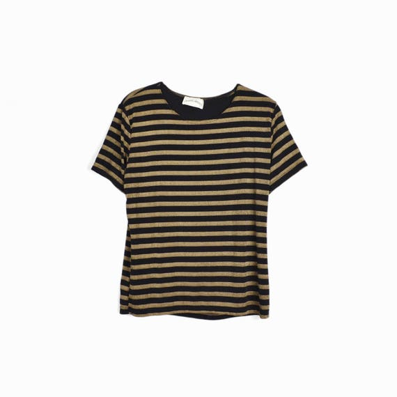Vintage 90s Black & Tan Striped Spandex Tee - women's medium