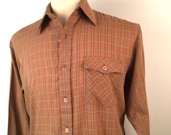 Wedgefield Plaid Shirt 80s Vintage lightweight brown Long Sleeve Button Up 15