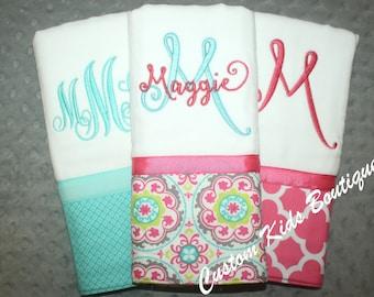Fun Fuschia and Aqua Baby Girl Burp Cloth Gift Set- Set of 3 Custom Monogrammed Burp Cloths