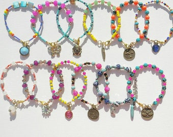 Colorful beaded stackable  bracelets