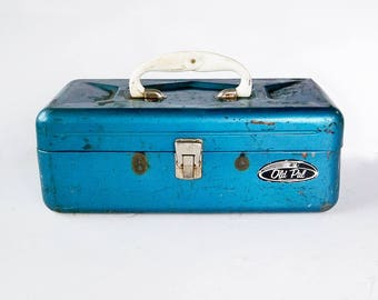 "Blue Mid Century ""Old Pal"" Metal Tackle box, Utility Box, Toolbox  ""Nice Distressed Patina"""