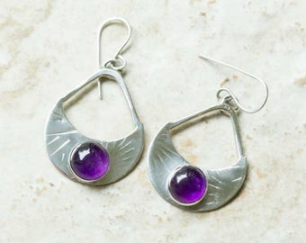 Amethyst Moon Earrings, Dangle, Sterling Silver, Handcrafted