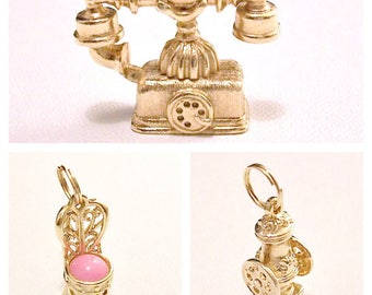 Avon Bracelet Charms 14K Gold Electroplate  Vintage 1973 Shoppe Chair French Telephone Coffee Mill Open Bale Ring