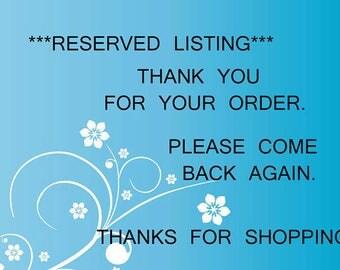 Reserved Listing for Chelsi