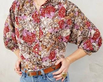 Vintage Rose print dolman sleeve collarless blouse