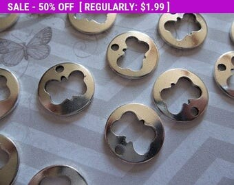 50% OFF Clearance SALE Silver Butterfly Round Cut Out Charms - Qty 18