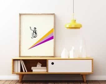 Vintage Sports Art, Retro Wall Art, Mid Century - I Can Jump Higher