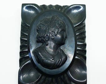 1920s Art Deco Large Black Bakelite Cameo Brooch Mourning Gothic Figural Carved Silhouette Victorian Edwardian Flapper Downton Abbey Vintage