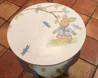 Peter Rabbit, Nursery, Kids & Baby, Nursery Tables,  Custom Round Nightstand, Side Table, Blues,