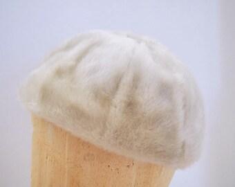Faux Mink Fur Vintage Hat Gray Winter Hat Beanie Bucket Hat