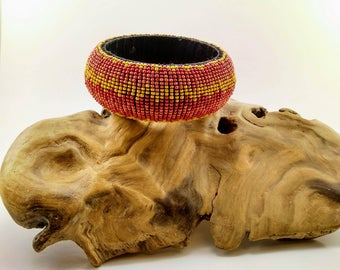 Orange, Yellow and Red Vintage Beaded Wide Bangle -244V