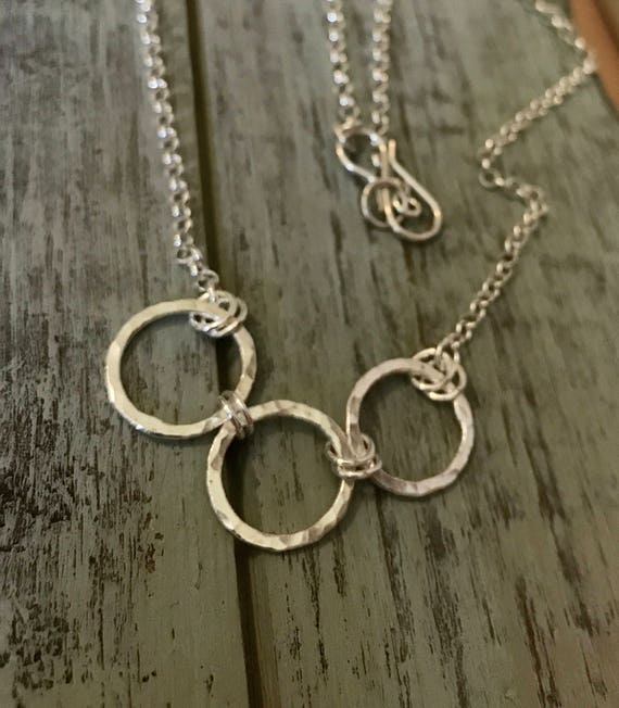 Three ring hammered circle necklace, fine silver .999, set of three, mother and daughters, on sterling chain