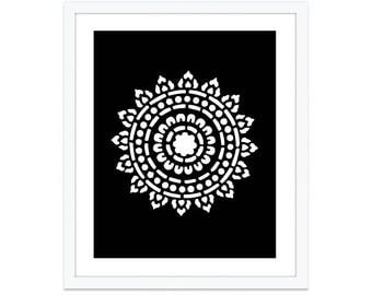 Mandala Art Print - Mandala Wall Art -  Medallion Art Print - Medallion Wall Art - 8x10 on 8.5x11 - custom color - aldariart