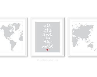 World Map Travel Nursery Art Prints, Nursery prints, Nursery Wall Art, Nursery Decor, Set of 3 Prints, all the love in the world print,