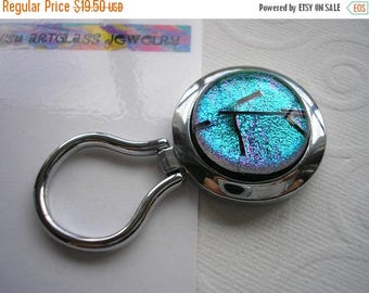 On Sale Magnetic Brooch Glowing Teal Green Nurses Badge Holder Dichroic Glass Kiln Fired Greem Brooch Jewelry Convert to Pendant Eyeglass Ke