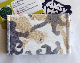 Gold and silver cats ID wallet/business card case/gift card holder hand printed on white cotton fabric reuse vegan