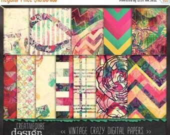 90% OFF Sale Digital paper, Digital Scrapbook paper pack - Instant download - 12 Digital Papers - Crazy vintage