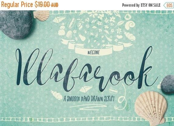 Digital Fonts 80% Off SALE Digital Fonts Illabarook - Digital Typeface - Hand drawn Script Fonts - Instant Download