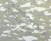 PRE-ORDER Olive Green and Grey Faded Look Camouflage on Oatmeal 4 Way Stretch French Terry Knit Fabric