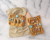 lot of 2 antique Art Nouveau ornate Gilt Brass Buckles Turquoise blue late 1800s Victorian Edwardian new old stock on card with celadon silk