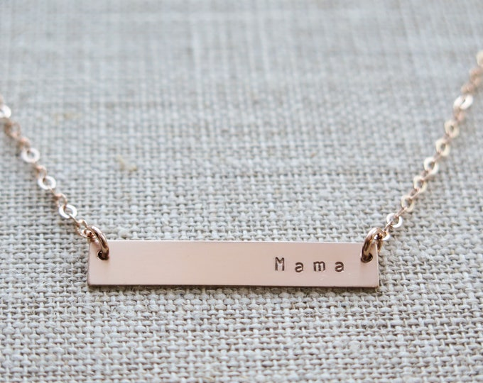 Mama Necklace - Rose Gold Fill Bar Necklace - Hand Stamped Jewelry - by Betsy Farmer Designs - Sterling and 14 KT Gold Fill