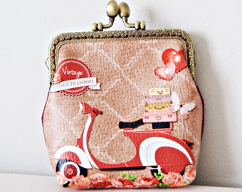 Vespa Coin Purse. Frame Purse. Printed UP-Leather Frame Purse. Metal Frame Purse.
