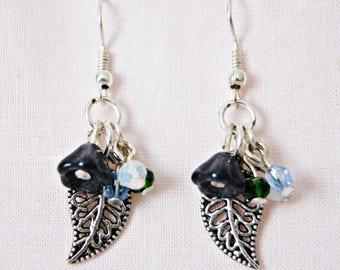 Silver Earrings. Crystal Flowers Earrings. Hook Earrings. Long Earrings. Perfect women gift