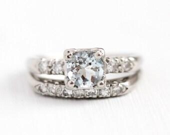 Engagement Ring Set - Aquamarine & Diamonds Platinum Vintage 1950s Mid Century - Wedding Band Classic Bridal Fine Blue Gemstone Jewelry