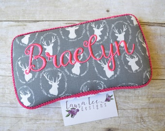 Deer on Gray Travel Baby Wipe Case, You Choose Trim Color, Personalized Diaper Wipecase, Monogram Wipe Holder, Diaper Bag Wipe Clutch