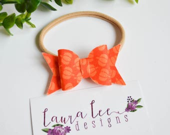 READY TO SHIP, Pumpkins Fabric Felt Bow Nylon Headband or Alligator Clip, Limited Edition Bow, Halloween Bow, Toddler, Fall Bow, Orange Bow