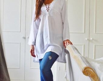 10% OFF Summer SALE // White Tunic Embroidered Dress-Karmia's Syle