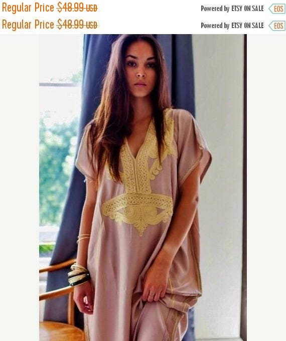 Autumn Dress 25% OFF SALE Autumn Dress Bohemian Kaftan Beige Marrakech Resort Caftan-beach, resortwear,maxi dress, birthdays, honeymoon, win