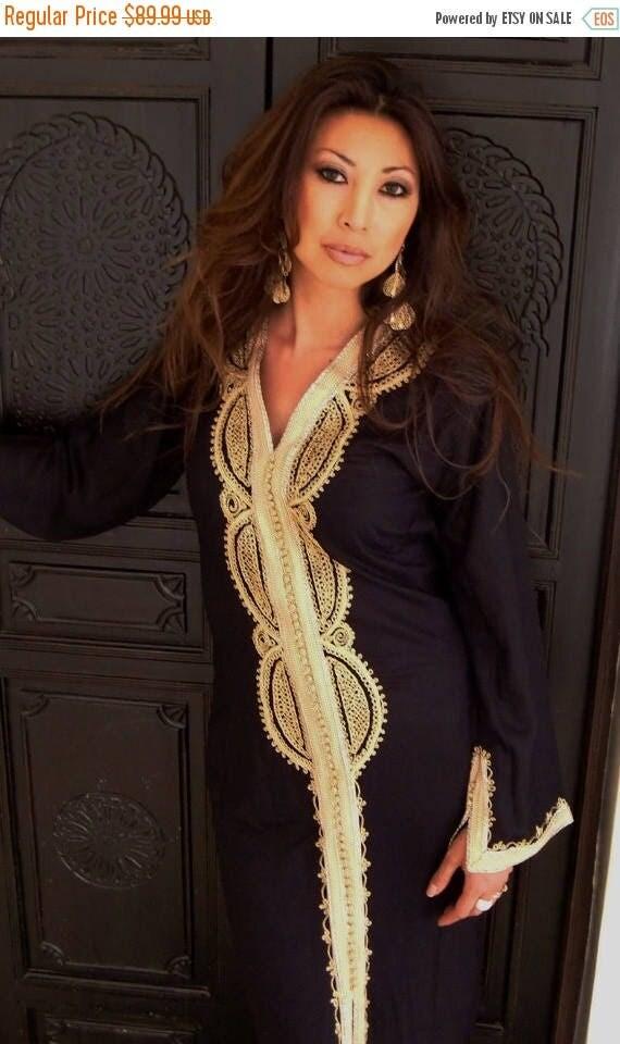 Autumn Dress 20% OFF/ Black Moroccan Caftan Kaftan -Lella  Style -Luxury loungewear, traditional abayas, resortwear, Birthdays or Maternity