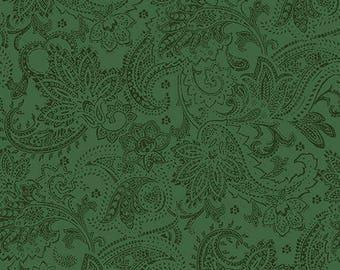 A Festive Season Green Paisley Scrolls Christmas Quilt Fabric by the 1/2 yard