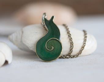 Snail Necklace - Emerald