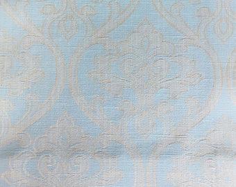 Custom Curtains Valance Roman Shade Shower Curtains in Light Aqua Damask Pattern Fabric