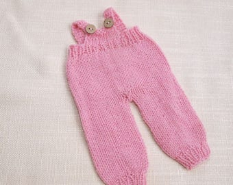 Waldorf Doll Clothes - Knitted Overalls - Pink color knitted overall - fits 9 - 10 inch dolls