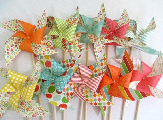 Birthday Decorations Paper Pinwheel Party Favors Summer Birthday