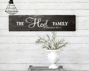 Family Wood Sign, Wedding Gift, Established Sign, Rustic Wall Decor
