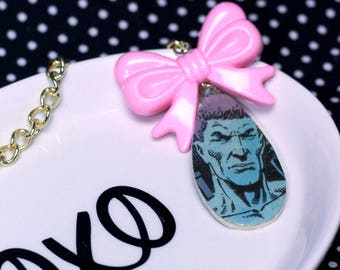 Comic Book Single Tear Drop Necklace with Pink Bow Version 2